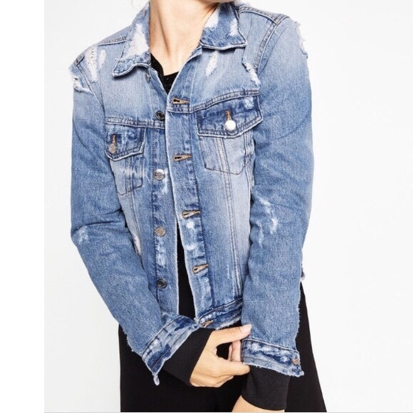 686e8361 ZARA Distressed Denim Jacket